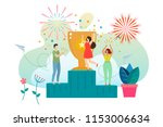 successful woman celebrating... | Shutterstock .eps vector #1153006634