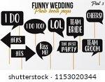 funny wedding photobooth props... | Shutterstock .eps vector #1153020344