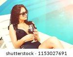 amazing pretty female drinking... | Shutterstock . vector #1153027691