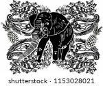 elephant with flower graphic... | Shutterstock .eps vector #1153028021