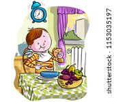 vector illustration  kid eating ... | Shutterstock .eps vector #1153035197