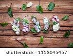 open sandwiches on dark rye... | Shutterstock . vector #1153045457