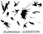 hand drawn set of black ink... | Shutterstock .eps vector #1153047194