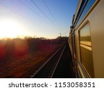 railway view from the train... | Shutterstock . vector #1153058351