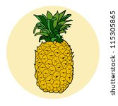 hand drawn colored pineapple.... | Shutterstock .eps vector #115305865
