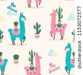 pattern with llama and cactus.... | Shutterstock .eps vector #1153072577