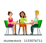three girls sitting at a table... | Shutterstock .eps vector #1153076711