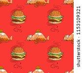 huge hamburger and fat cat...   Shutterstock .eps vector #1153109321