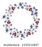 vector vintage floral blue... | Shutterstock .eps vector #1153111847