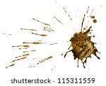 Small photo of Coffee or mud splash isolated on white background. Clipping path.