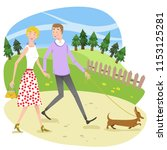 woman and man in love  holding... | Shutterstock .eps vector #1153125281