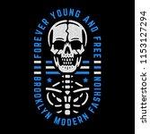 retro skeleton. vintage print... | Shutterstock .eps vector #1153127294