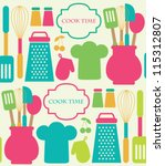 seamless kitchen pattern.... | Shutterstock .eps vector #115312807