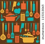 seamless kitchen pattern.... | Shutterstock .eps vector #115313065