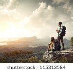 hikers with backpacks enjoying... | Shutterstock . vector #115313584
