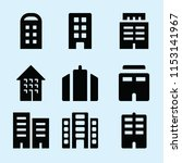 filled set of 9 apartment icons ... | Shutterstock .eps vector #1153141967