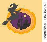 helloween paper cut vector...   Shutterstock .eps vector #1153150247