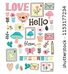 vector illustration of cute and ... | Shutterstock .eps vector #1153177234