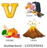 illustration of v alphabet   Shutterstock .eps vector #1153193431