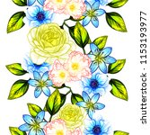 flower print in bright colors.... | Shutterstock .eps vector #1153193977