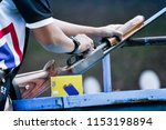athlete shoot gun put bullet....   Shutterstock . vector #1153198894