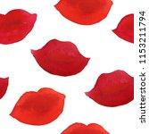watercolor pink print kiss lip  ... | Shutterstock . vector #1153211794