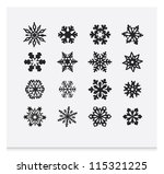 snowflake winter set  vector   2 | Shutterstock .eps vector #115321225