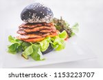 fresh tasty vegetarian burger... | Shutterstock . vector #1153223707