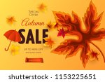 vector autumn sale banner with... | Shutterstock .eps vector #1153225651