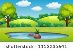 a nature pond landscape... | Shutterstock .eps vector #1153235641