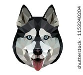 low poly triangular husky dog... | Shutterstock .eps vector #1153240204