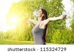 happiness girl with open hands... | Shutterstock . vector #115324729