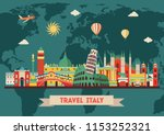 italy colorful detailed skyline.... | Shutterstock .eps vector #1153252321