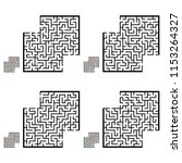 set of labyrinths with places... | Shutterstock .eps vector #1153264327