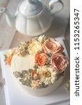 buttercream flower cake with... | Shutterstock . vector #1153265347
