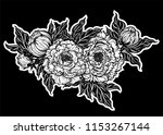 peony flower with leaves and... | Shutterstock .eps vector #1153267144