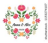 vintage flowers wedding save... | Shutterstock .eps vector #1153274107