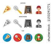 a pizza cutter  a slice  a menu ... | Shutterstock .eps vector #1153291771