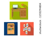furniture and interior flat... | Shutterstock .eps vector #1153294804