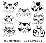 cats heads emoticons. hand... | Shutterstock .eps vector #1153296931