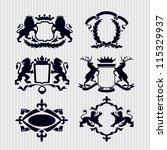 vector heraldic royal crests... | Shutterstock .eps vector #115329937