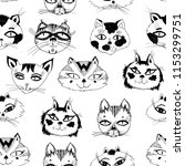 seamless pattern with cute cats ... | Shutterstock .eps vector #1153299751