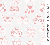seamless pattern with cute cats ... | Shutterstock .eps vector #1153301614
