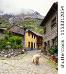 small winding street with old... | Shutterstock . vector #1153312054