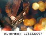 jazz saxophone player in...   Shutterstock . vector #1153320037