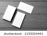 blank business cards on wooden... | Shutterstock . vector #1153324441