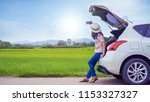 car parking on countryside road ... | Shutterstock . vector #1153327327