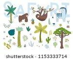 safari design set. cartoon... | Shutterstock .eps vector #1153333714