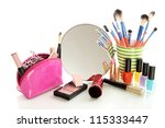 cosmetics near mirror isolated... | Shutterstock . vector #115333447