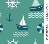 seamless pattern with nautical...   Shutterstock .eps vector #1153346914